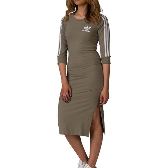 f769748eba ADIDAS Green 3 Stripes Midi Dress Size XS